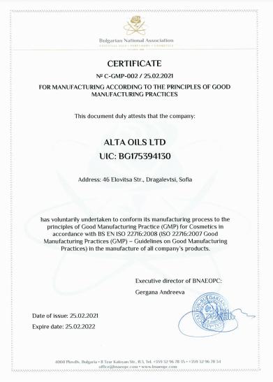 GMP Certificate Alta Oils